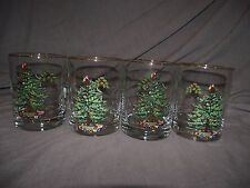 Set of 4 Spode Christmas Tree Double Old Fashioned Glasses