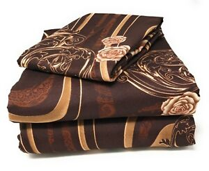 Tache-3-4-Piece-Melted-Gold-Brown-Beige-Floral-Roses-Fitted-Flat-Bed-Sheet-Set