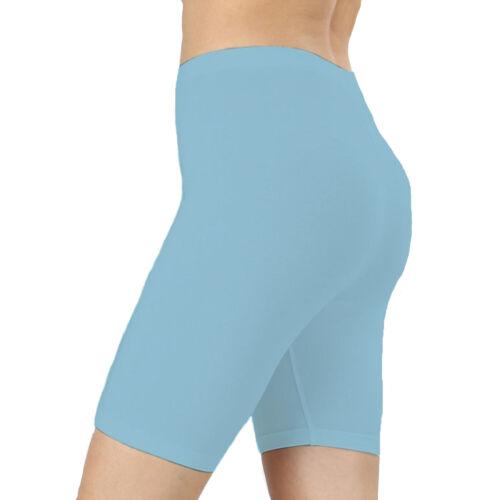 WCS Women Ladies Plain Elasticated Stretch Nylon Lycra Cycling Shorts Pants