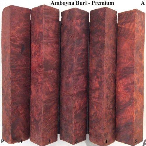SET OF 5 AMBOYNA BURL  PEN BLANKS  PREMIUM GRADE BLANKS