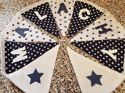 FREE P/&P PERSONALISED BUNTING-BLUE STAR FABRIC  MIX WITH CARS-£1 PER FLAG