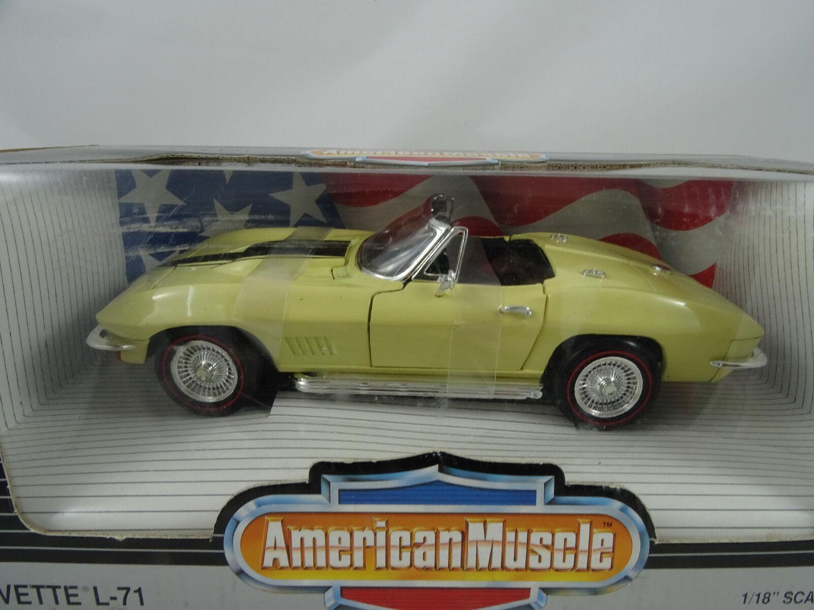 1 18 ertl  7297 - 1967 Corvette l-71 converdeible amarillo-rareza §