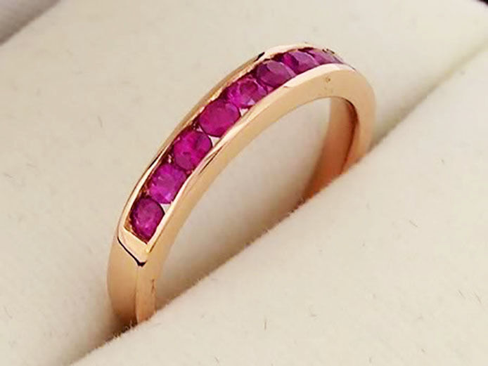 R165 CLASSIC 9K 9ct SOLID pink gold NATURAL Ruby ETERNITY Ring wedding size M