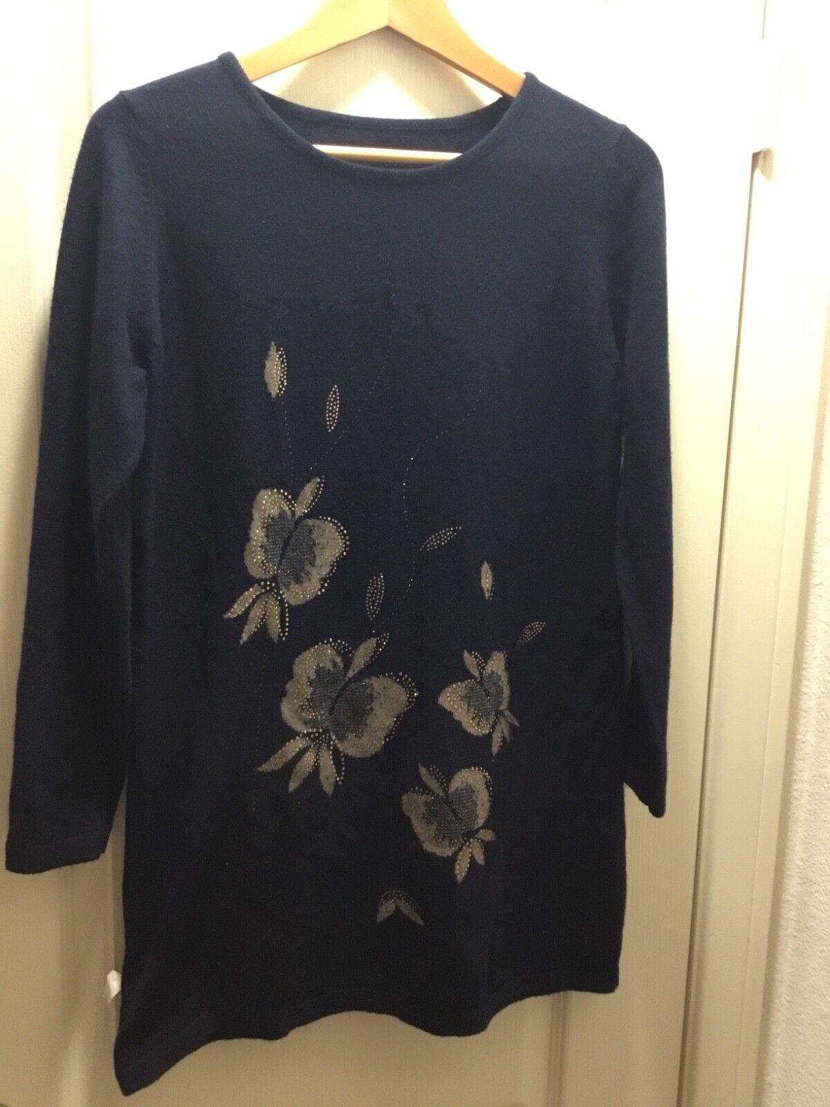 Women bluee with flower wool sweater size S