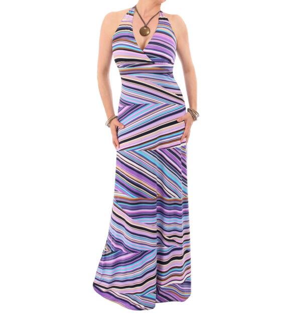New Purple Striped Halter Neck Maxi Dress - Full length