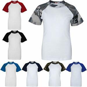 Kids Boys Girls Short Sleeve Raglan Baseball T-Shirt Crew Neck Plain Sport Tee