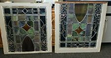 ANTIQUE PAIR STAINED GLASS CHURCH WINDOWS  36 X 34 VINTAGE
