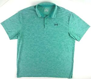 Under Armour Heat Gear Mens Polo golf Shirt  loose fit Turquoise  SZ 2XL
