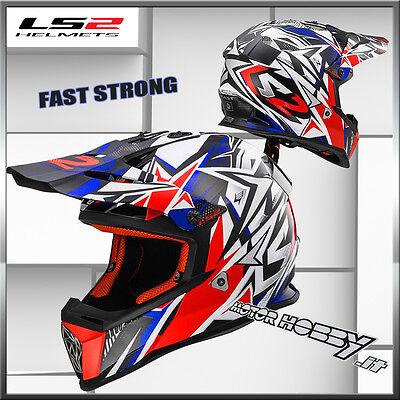 Caschi Moto MX437 Fast Block Bianco Rosso LS2