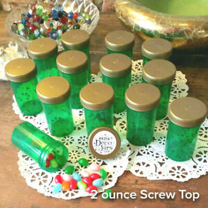 10-GREEN-JARS-Gold-Caps-Herbal-Pill-Bottle-2-ounce-Container-4314-DecoJars