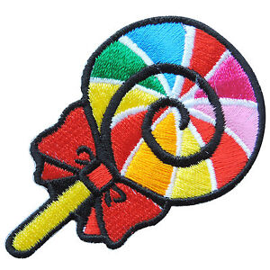 Candy Colorful Rainbow Jawbreaker Sweet Sugar Lollipop Food Iron-On Patch #F037