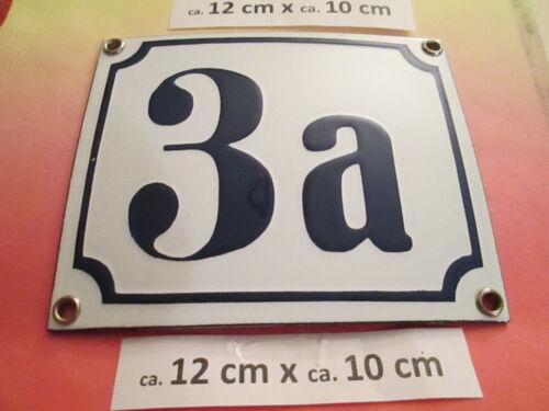7a dunkel-blau Zahl auf weißem Hintergrund 12 cm x 10 cm Emaille-Hausnummer Nr