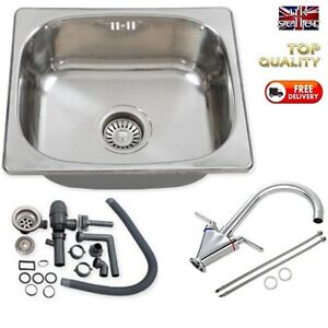 Motorhome-Stainless-Steel-Sink-Twin-Lever-Tap-Complete-Kit-SELF-BUILD-CAMPER