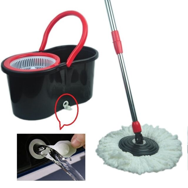 360° Easy Magic Floor Mop Bucket 2 Heads Microfiber Spin Rotating Head Black