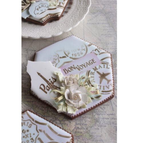 Confection Couture Prettier Plaques Vintage Bon Voyage Cookie Stencil Set 5 Pc