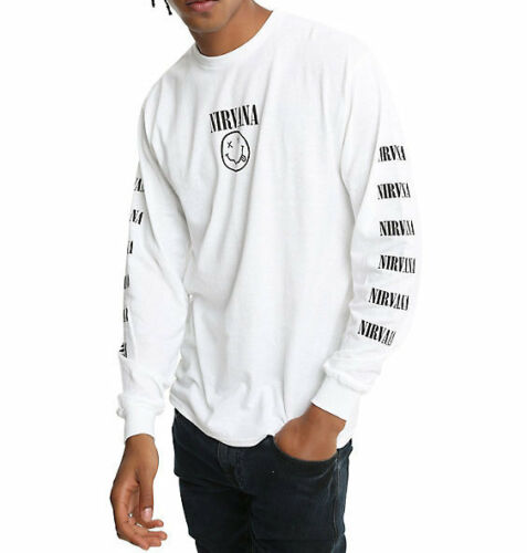 Nirvana SMILEY LOGO REPEAT Long Sleeve T-Shirt NWT 100/% Authentic /& Official