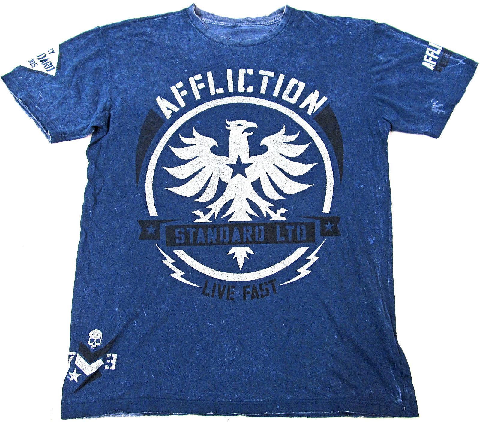 AFFLICTION Reversible T-shirt Distressed Tee Adult  Herren XL Blau New Men