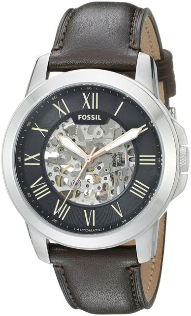 2a65b01f97d Fossil ME3100 Grant Black Dial Brown Leather Strap Automatic Men s Watch