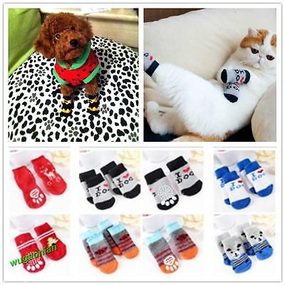 4Pcs Indoor Pet Dog Cat Cotton Anti-slip Knit Weave Warm Sock Skid Bottom S/M/L