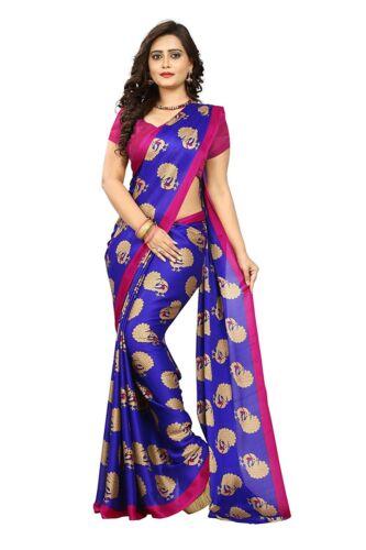 Blue Peacock Printed Saree Kalamkari Crepe Silk Designer Sari