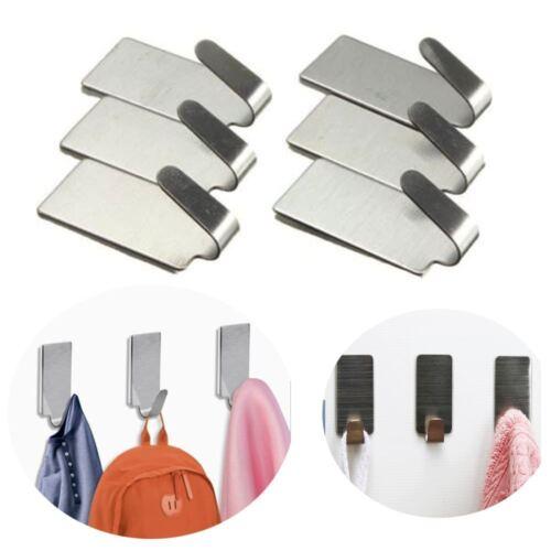 6 Pcs Büro Tür Selbstklebend Rostfreier Stahl Tuch Kleiderbügel Wandhaken