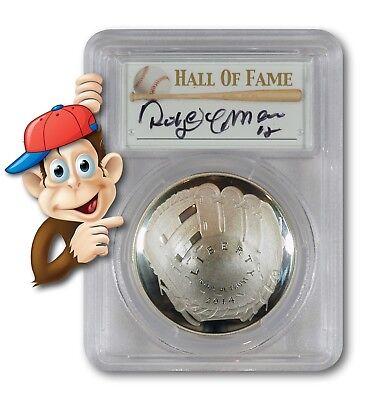 Hand Signed By Roberto Alomar PCGS MS70 2014-P Baseball HOF Silver $1