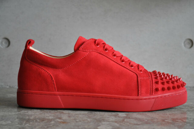 6a7fcd2c97ce Christian Louboutin Louis Junior Spikes Flat Suede Red oeillet 5.5 UK 39.5  EUR for sale online