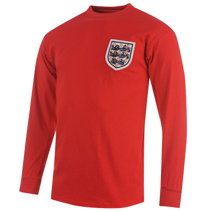 ENGLAND 1966 AWAY 2XL,XL,L WORLD CUP WINNERS rosso LONGSL SOCCER FOOTBALL SHIRT
