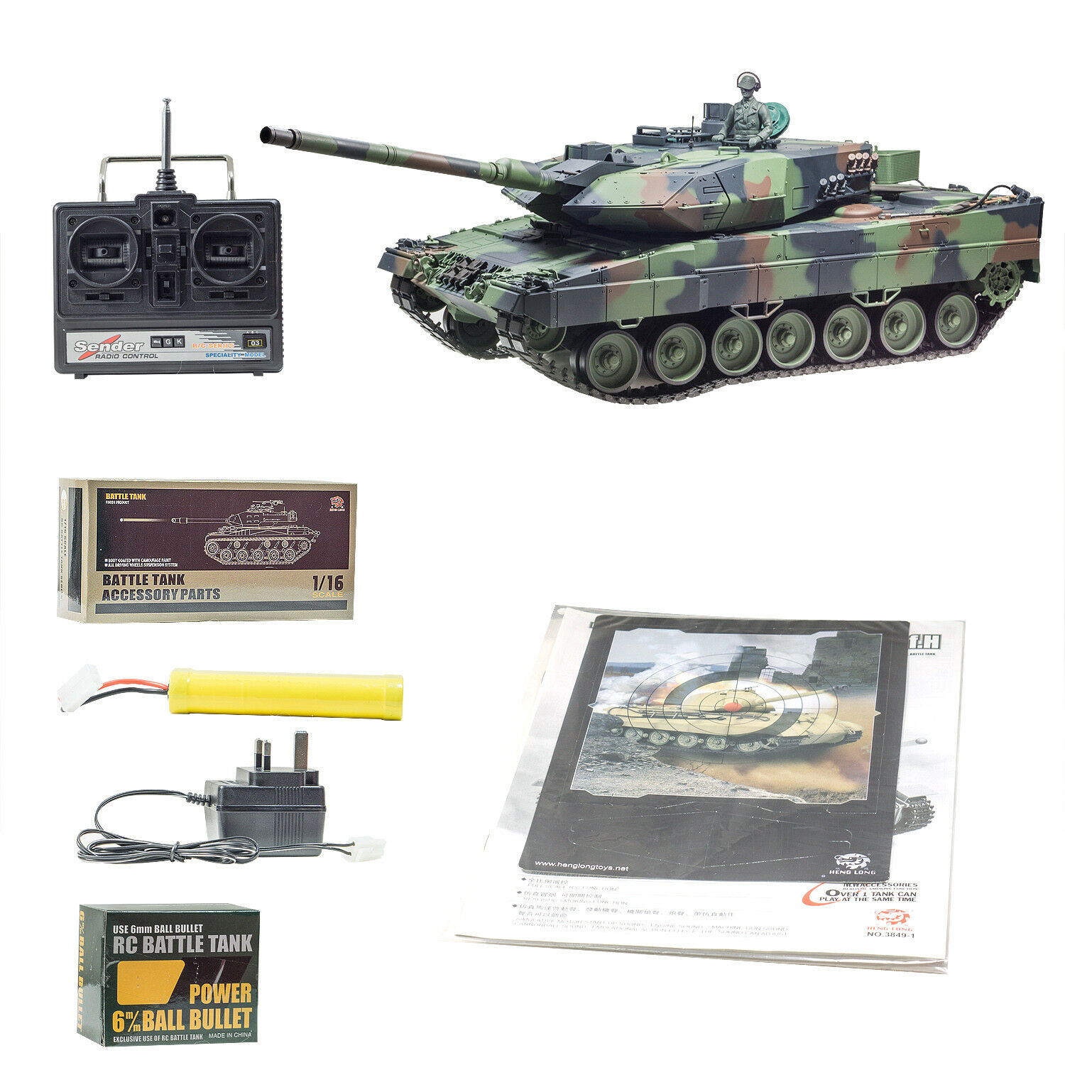 New 2.4G RC 1 16 Heng Long Leopard 2A6 Airsoft Tank Somking Remote Control Tank