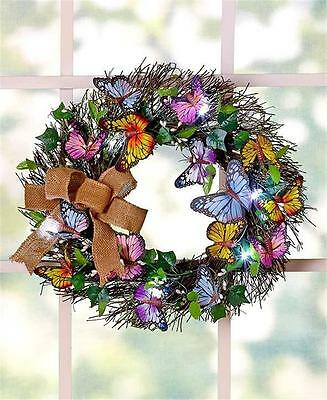 "16"" DIA. LED LIGHTED SPRING BUTTERFLY GREENERY DOOR OR WALL WREATH HOME DECOR"