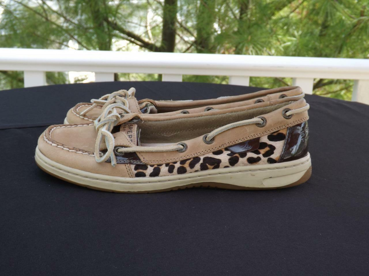 Sperry Top Sider Angelfish Pony Hair Leopard Print Boat shoes shoes shoes Flats 7 M 9102146 9faa3c
