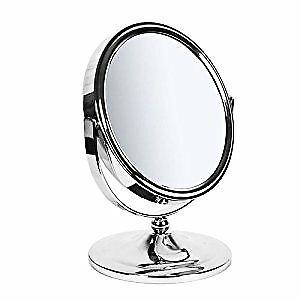 Make up, Shaving Round Table mirror - Chrome Antique- 17 cm One side Magnified