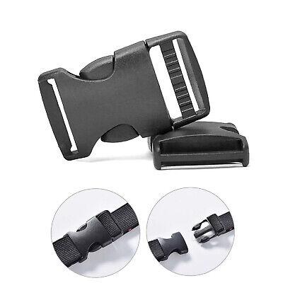 Hemline 25mm Adjustable Strap Buckle Clip Black Webbing Luggage Bag Camping