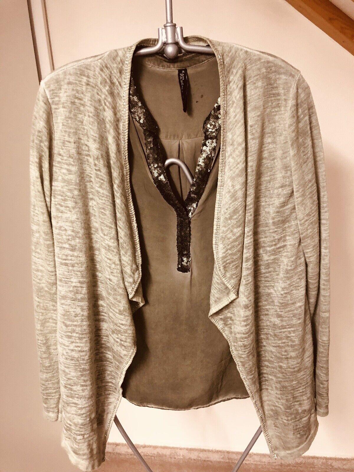 *JEAN PASCALE* Set Bürooutfit Bluse + Strickjacke Gr.38 grün/khaki * TOP *