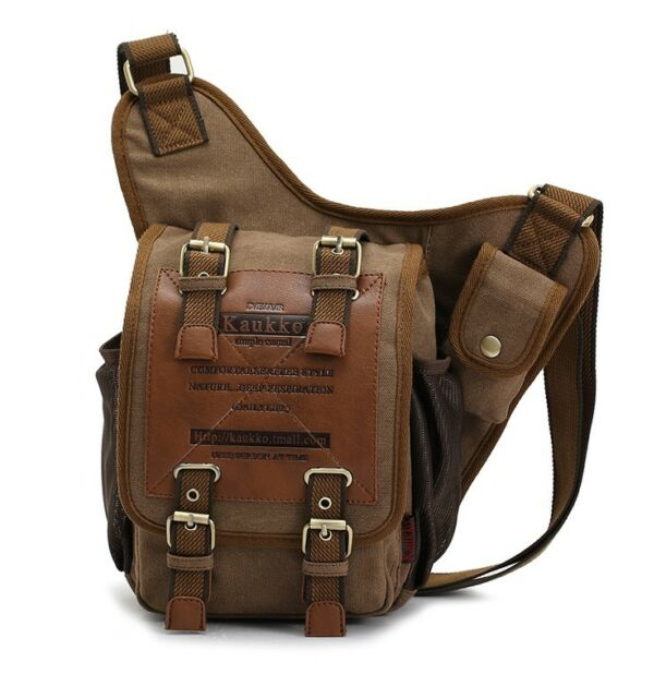 Mens Boys Vintage Canvas Shoulder Military Messenger Bag Sling school Bags 3021