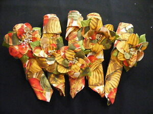 Vintage-Handmade-5-Napkin-Rings-amp-Napkins-Fall-Colors-Apple-Red-Green-Squash