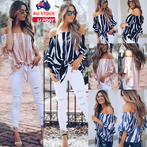 Plus-Size-Women-Summer-Off-Shoulder-Strapless-Flared-Sleeve-Shirt-Tops-Blouse