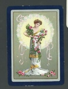 Swap-Playing-Cards-1-WIDE-VINT-ENG-SERENE-LADY-DRAPED-IN-PINK-ROSES-EW194-VGC