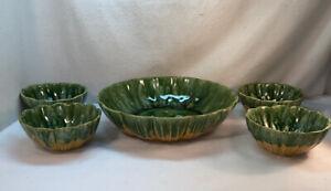 Vtg 5pc 1960's McCoy USA #802 803 Pottery Green Hippy Drip Yellow Salad Bowl Set