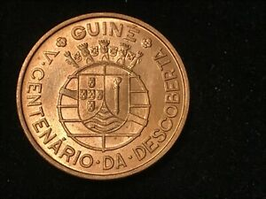GUINE BISSAU 1$00 ESCUDO 1946 F-XF 500Th ANNIVERSARY OF DISCOVERY,DENOMINATION W