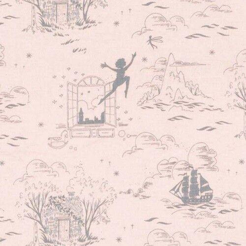 Michael Miller Peter Pan by Sarah Jane MD7943 Dusty Rose Tink w//Metallic Cotton