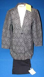 NEW-8-Dialogue-QVC-Style-Ladies-Pant-Suit-Brocade-Blue-Navy-Pants-Jacket-Blazer