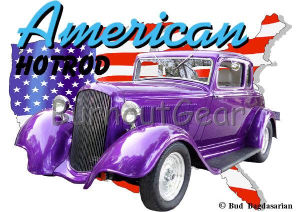 1933 lila Plymouth Coupe Custom Hot Rod USA T-Shirt 33 Muscle Car Tees