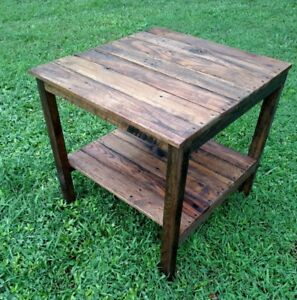 Image Is Loading End Table Handmade Reclaimed Pallet Wood Upcycled Vintage