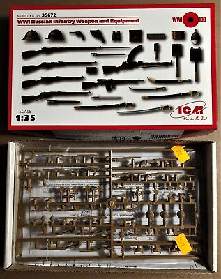 Icm 35672 - Wwi Russian Infantry Weapon And Equipment - 1/35 Plastic Kit Corrispondenza A Colori