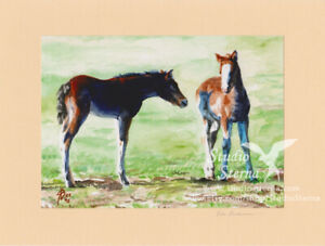Kunst-Foto-Druck-Gemaelde-18x24cm-Tiere-Pferd-Fohlen-Aquarell-Bremen-beige