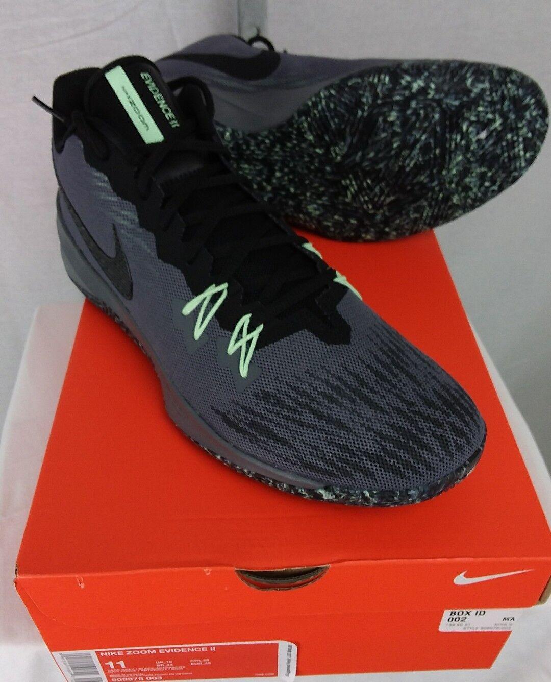 Nike Zoom Evidence II Men Sz 11 Basketball Shoes Sneakers Trainers Gray Black