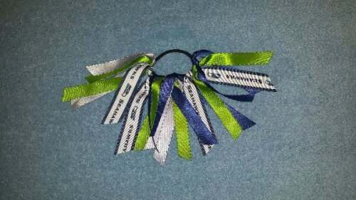 Team Colors Ribbon Ponytail Holder Made with Seattle Seahawks Grosgrain Ribbon