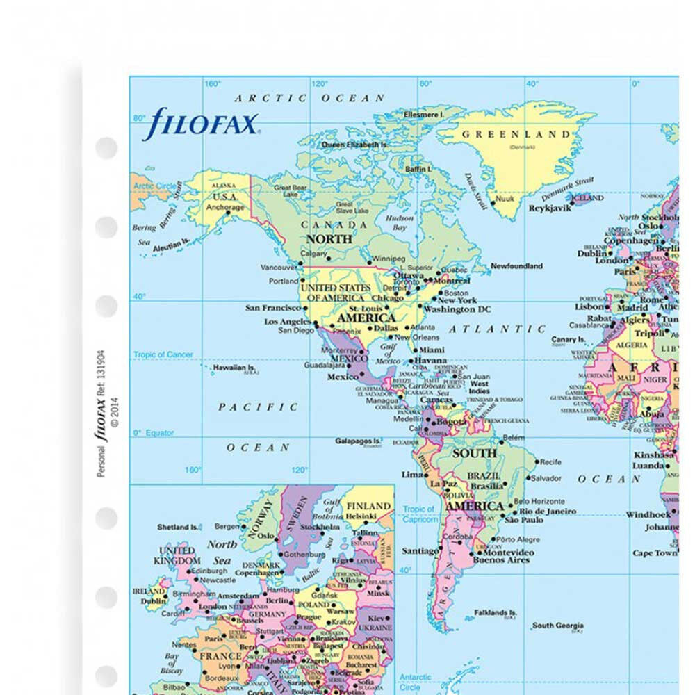 Filofax Personal Size Organiser World Map Refill Insert Accessory ...