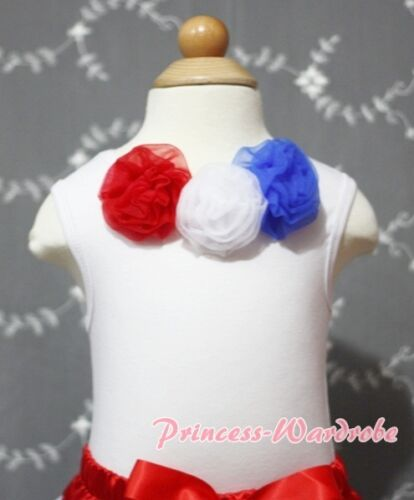 Newborn Baby White Pettitop Tank Top with Red White Blue Rosettes Set 3-12Month
